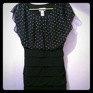 Navy blue and black polka dot dress